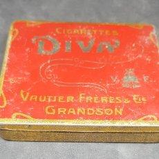 Cajas y cajitas metálicas: CAJA METAL TABACO - CIGARRETTES DIVA - 8X8 CM - FRANCIA - CAR206. Lote 262007240