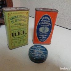 Cajas y cajitas metálicas: TRES CAJAS METÁLICAS, DOS DE PÓLVORA Y OTRA DE PISTONES, VACÍAS. Lote 266657043