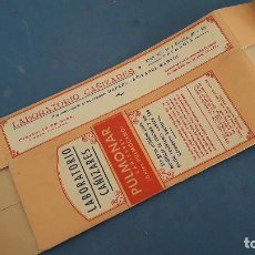 Cajas y cajitas metálicas: CAJA DE FARMACIA, PULMONAR LABORATORIO CAÑIZARES, 19X7X4CM APROX , SIN USAR. Lote 266863399