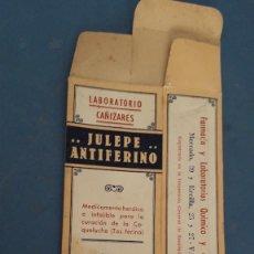 Cajas y cajitas metálicas: CAJA DE FARMACIA, JULEPE ANTIFERINO LABORATORIO CAÑIZARES, 15X6X4CM APROX , SIN USAR. Lote 266863674