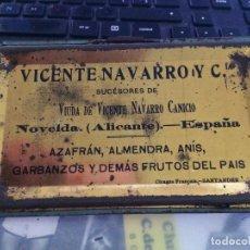 Cajas y cajitas metálicas: VICENTE NAVARRO Y CÍA - NOVELDA ( ALICANTE ) - TAPA LATA AZAFRÁN - AÑOS 20 - SUCESORES DE VDA. DE ... Lote 267711424