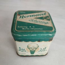 Cajas y cajitas metálicas: ANTIGUA CAJA METALICA NORMACOL SCHERING BERLIN. Lote 269599593