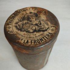 Cajas y cajitas metálicas: ANTIGUO BOTE METALICO THEOBROMINA LUKE LABORATORIO QUIMICO JEREZ DE LA FRONTERA. Lote 269601543