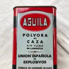 Cajas y cajitas metálicas: CAJA LATA 500 GR. PÓLVORA DE CAZA AGUILA - UNIÓN ESPAÑOLA DE EXPLOSIVOS. F. LUGONES, OVIEDO, VACIA. Lote 270236163