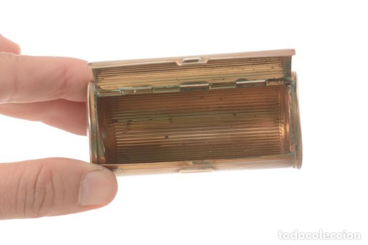 Cajas y cajitas metálicas: Curiosa caja vintage en forma cónica para maquillaje o monedero - Foto 7 - 273643118