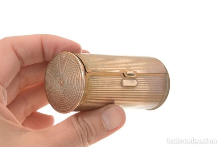 Cajas y cajitas metálicas: Curiosa caja vintage en forma cónica para maquillaje o monedero - Foto 10 - 273643118