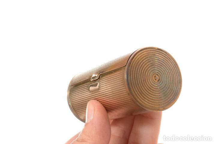 Cajas y cajitas metálicas: Curiosa caja vintage en forma cónica para maquillaje o monedero - Foto 11 - 273643118