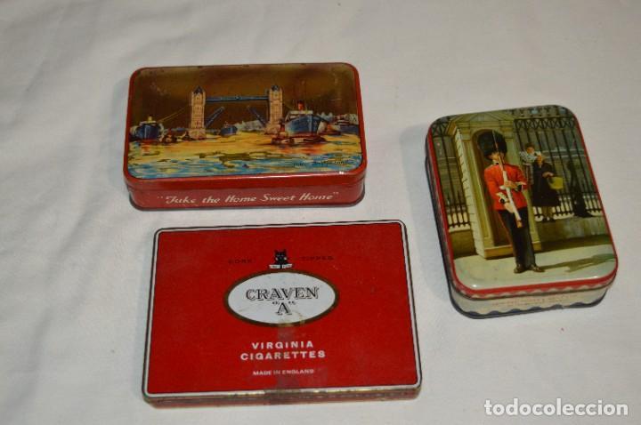 INGLESAS 3 CAJAS / CAJITAS HOJALATA LITOGRAFIADA - ANTIGUAS, VINTAGE/VARIADAS ¡MIRA FOTOS/DETALLES! (Coleccionismo - Cajas y Cajitas Metálicas)