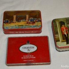 Cajas y cajitas metálicas: INGLESAS 3 CAJAS / CAJITAS HOJALATA LITOGRAFIADA - ANTIGUAS, VINTAGE/VARIADAS ¡MIRA FOTOS/DETALLES!. Lote 273729293