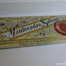 Cajas y cajitas metálicas: ANTIGUA CAJA HOJALATA AÑOS 50 MANTECADAS SALINAS, TUDELA, NAVARRA. Lote 275340288
