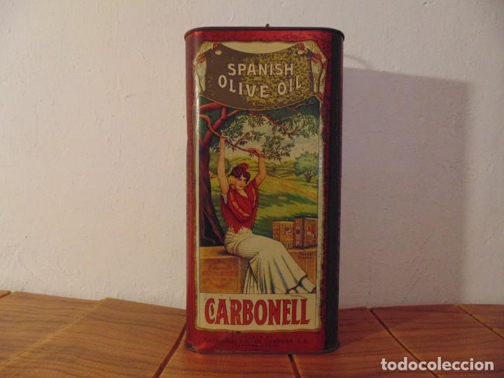 ANTIGUA LATA DE ACEITE DE OLIVA CARBONELL SIN ABRIR AÑOS 70'S ? (Coleccionismo - Cajas y Cajitas Metálicas)