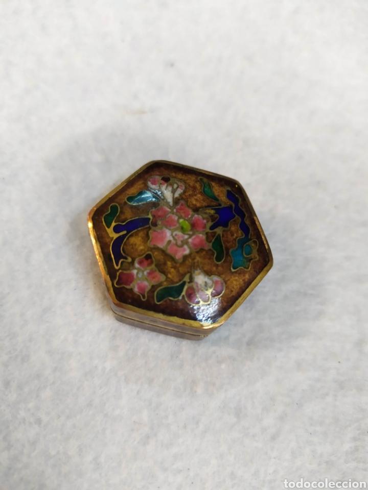 Cajas y cajitas metálicas: Cajita Cloisonne. Cajita bronce esmaltado. - Foto 3 - 276813708