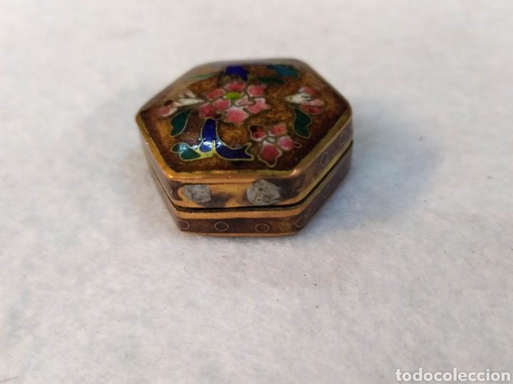 Cajas y cajitas metálicas: Cajita Cloisonne. Cajita bronce esmaltado. - Foto 4 - 276813708