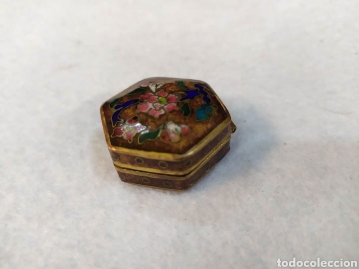 Cajas y cajitas metálicas: Cajita Cloisonne. Cajita bronce esmaltado. - Foto 5 - 276813708