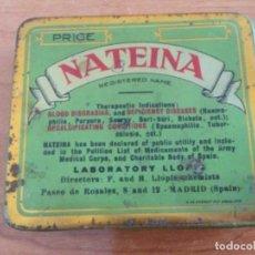 Cajas y cajitas metálicas: CAJA DE LATA SERIGRAFIADA NATEINA.VITAMINA A, B, C Y D. PINTOR ROSALES, MADRID 1928. Lote 277616058
