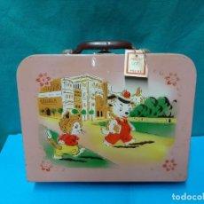 Cajas y cajitas metálicas: CAJA, JOYERO DE MADERA CON ILUSTRACION INFANTIL AÑOS 50. Lote 277846918