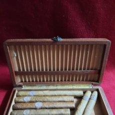 Cajas y cajitas metálicas: CAJA CON 7 PUROS MONTECRISTO. Lote 283755818