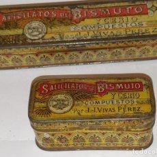Cajas y cajitas metálicas: 2 CAJAS MEDICAMENTO CHAPA LITOGRAFÍADAS, SILICATOS BROMURO Y CELIO JJVIVAS PÉREZ,. Lote 285062328