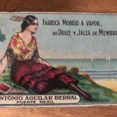 Cajas y cajitas metálicas: LATA LITOGRAFÍADA DULCE MEMBRILLO ANTONIO AGUILAR. PUENTE GENIL. Lote 285077863