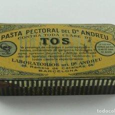 Casse e cassette metalliche: ANTIGUA CAJA DE HOJALATA PASTA PECTORAL CONTRA TOS OBJETO DE COLECCIÓN. Lote 285634228