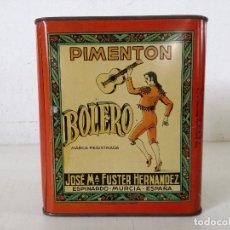 Casse e cassette metalliche: ANTIGUA CAJA DE LATA LITOGRAFIADA, PIMIENTÓN BOLERO, J. M. FUSTER HERNÁNDEZ, ESPINARDO, 19 X 17 X 13. Lote 287353103