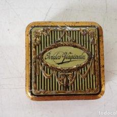 Casse e cassette metalliche: ANTIGUA CAJA DE LATA LITOGRAFIADA DE FARMACIA, ÓVULOS VAGINALES, TAPA EN RELIEVE, 8 X 8 X 3 CMS.. Lote 287364063