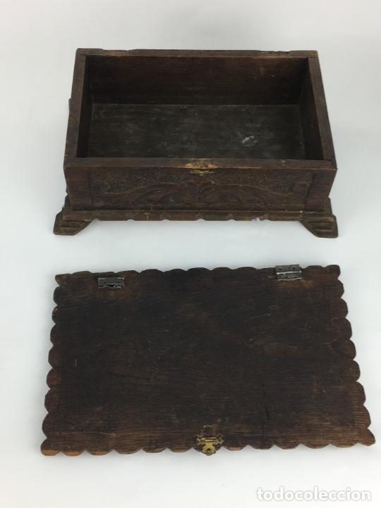 Cajas y cajitas metálicas: PRECIOSO COFRE CAJA EN MADERA MUY TRABAJADA Y DECORATIVA 24 X 16 CM - Foto 5 - 287542398