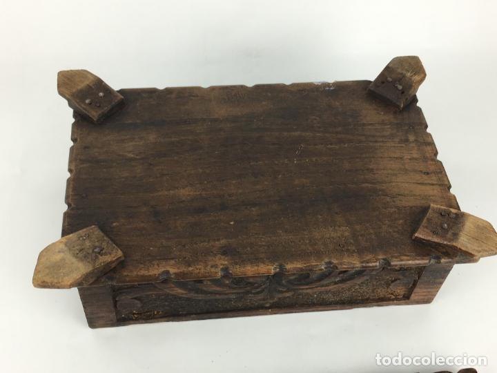 Cajas y cajitas metálicas: PRECIOSO COFRE CAJA EN MADERA MUY TRABAJADA Y DECORATIVA 24 X 16 CM - Foto 6 - 287542398
