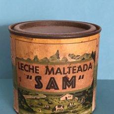 Cajas y cajitas metálicas: ANTIGUA LATA DE LECHE MALTEADA SAM. PREPARADO POR LOS SINDICATOS AGRÍCOLAS MONTAÑESES. BOTE LECHE. Lote 287771383