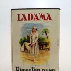 Cajas y cajitas metálicas: ANTIGUA LATA PIMENTON PURO ALDAMA, GRANDE (26X18X16), MENGUAL Y MARTINEZ. Lote 289553908