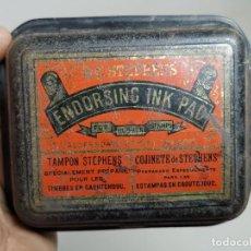 Cajas y cajitas metálicas: CAJA CHAPA LITOGRAFIADA TINTA TAMPON STEPHENS-ENDORSING INK PAD---LONDON-CIRCA 1900. Lote 297152323