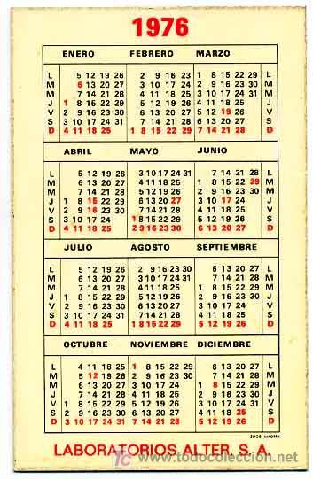 Calendario 1976.Calendario Publicidad Nutriben 1976 Cal565