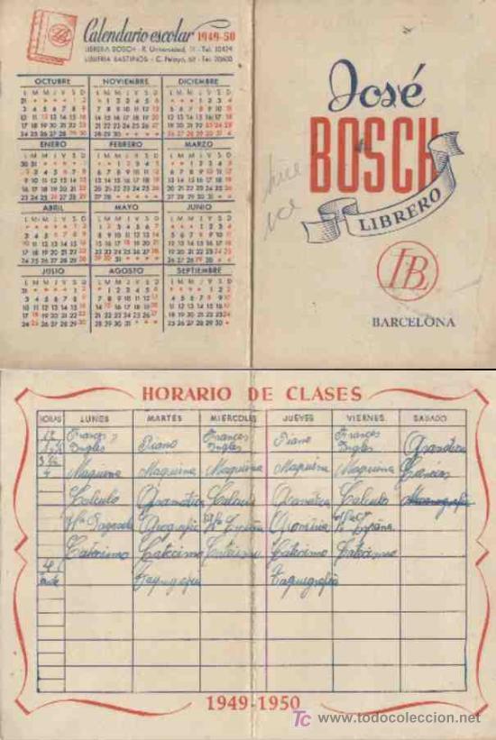 Calendario Escolar Barcelona.Calendario Escolar Ano 1949 1950 Barcelona Sold At Auction 4183271