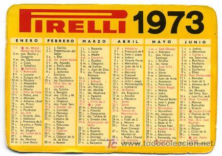 Calendario Santoral.Calendario Publicidad Peirelli Con Santoral 1973 Cal1089