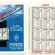 Coleccionismo Calendarios: CALENDARIO FOURNIER RELOJ , RELOJES POTENS , 1967 , CAD 249. Lote 27451520