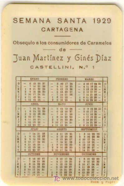 Calendario 1929.Ca 1193 Calendario De Bolsillo Celuloide Semana Santa De Cartagena Ano 1929 Rarisimo Caramelos