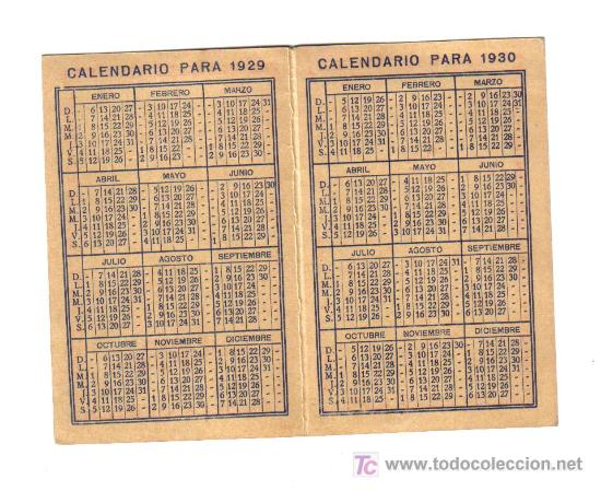 Calendario 1930.Papel Gol Calendario 1929 Y 1930 Sold At Auction 7018928