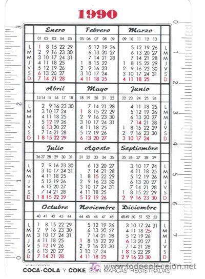 1990 Calendario.Calendario Fournier De Coca Cola Ano 1990 Sold Through