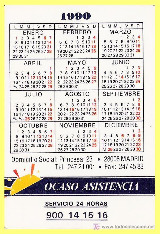 1990 Calendario.Calendario De Bolsillo Publicidad Ocaso L Sold At