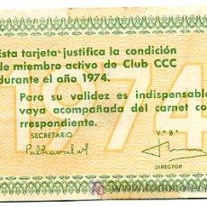 Coleccionismo Calendarios: CALENDARIO PUBLICIDAD CLUB CCC , 1974 , CAL1677. Lote 20621723