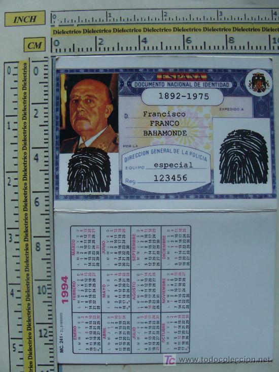 CALENDARIO MILITAR. FRANCISCO FRANCO BAHAMONDE. DNI. 1994. (Coleccionismo - Calendarios)