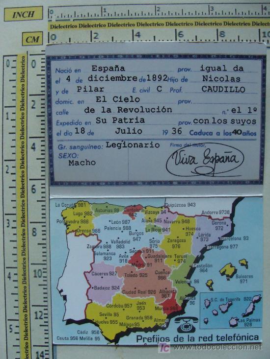 Coleccionismo Calendarios: CALENDARIO MILITAR. FRANCISCO FRANCO BAHAMONDE. DNI. 1994. - Foto 2 - 8861840