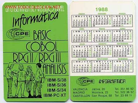 CALENDARIO INFORMATICA BASIC COBOL , IBM , 1988 , CAD 72