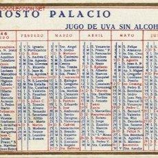 Coleccionismo Calendarios: AÑO 1946. CALENDARIO ESPAÑOL DE MOSTO PALACIO. AÑO 1946!!!. Lote 27427321