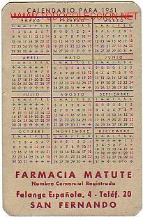Calendario 1951.Calendario De Bolsillo Del Ano 1951 Publicidad Sold At