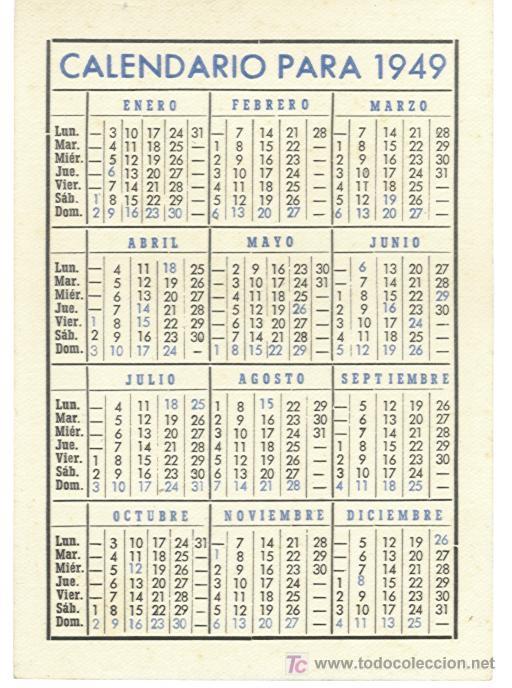 Calendario 1949.Calendario Espanol De Seguros Ano 1949 Sold Through