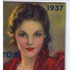 Coleccionismo Calendarios: CALENDARIO PARA 1937.PASTILLAS DR. ANDREU.EN CONTRAPORTADA MENTHOLINA.¡IMPECABLE!. Lote 16021813