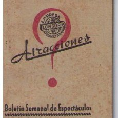 Coleccionismo Calendarios: ATRACCIONES.BOLETÍN SEMANAL DE ESPECTACULOS.DEL 27 DE DICIEMBRE 1943 AL 2 DE ENERO 1944.SEVILLA. Lote 16021833