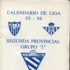 Coleccionismo Calendarios: CALENDARIO DE LIGA 93-94 Y SEGUNDA PROVINCIAL GRUPO 1. C.D.SAN JEERONIMO.PUBLICIDAD BAR MARAVER. Lote 18780869