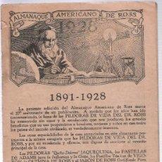 Coleccionismo Calendarios: ALMANAQUE AMERICANO DE ROSS.AÑO 1928. FALTAN PORTADAS. Lote 21336334